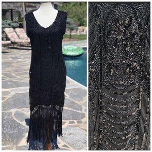 Vintage black sequin flapper style dress sz L